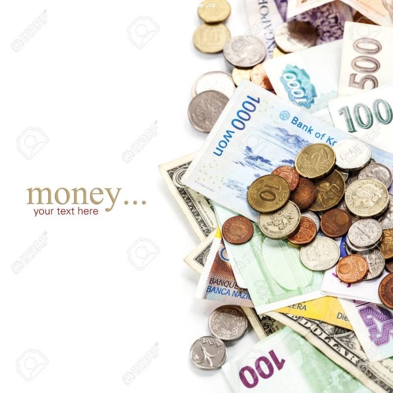 Cyklo-Velobazar obrázek 1-26736100-pièces-de-monnaie-et-billets-de-banque-etrangers-.jpg