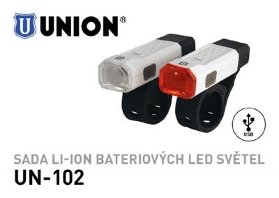 Sada dobíjecích Li-ion bateriových LED světel, přední UN-100 a zadní UN-101, speciálně navržených, aby je bylo možné uchytit na všechny typy kol.  Vlastnosti  Přední světlo UN-100      1 x super